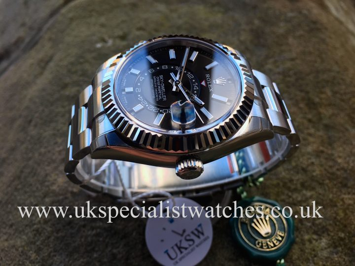 UK Specialist Watches have a 2017 stainless steel new model sky-dwelller with a black dial.