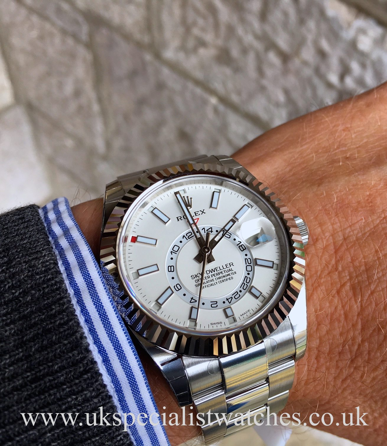 Rolex sky dweller stainless steel white black