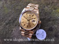 UK Specialist Watches have a Rolex Day-Date President in 18ct Yellow gold with a champagne dial 18238