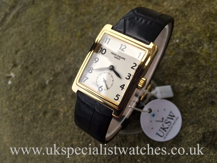 UK Specialist Watches have a rare Patek Philippe Gondolo 5010 in 18ct Gold with a black alligator strap.