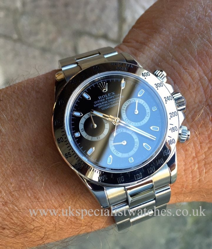 UK Specialist Watches have a immaculate Steel Rolex Daytona Cosmograph with a Black Dial - 116520