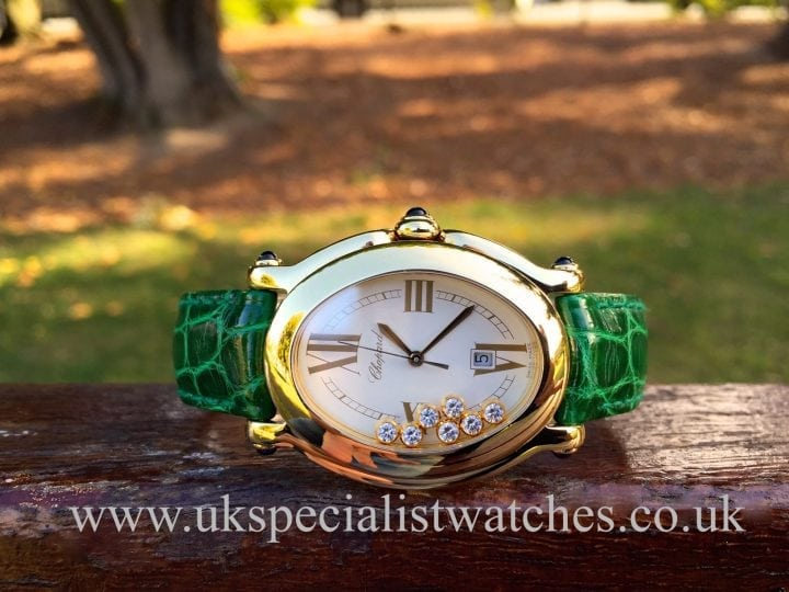 UK Specialist Watches have a beautiful ladies Chopard Happy Sport 18ct Gold & Diamonds 27/7000-23