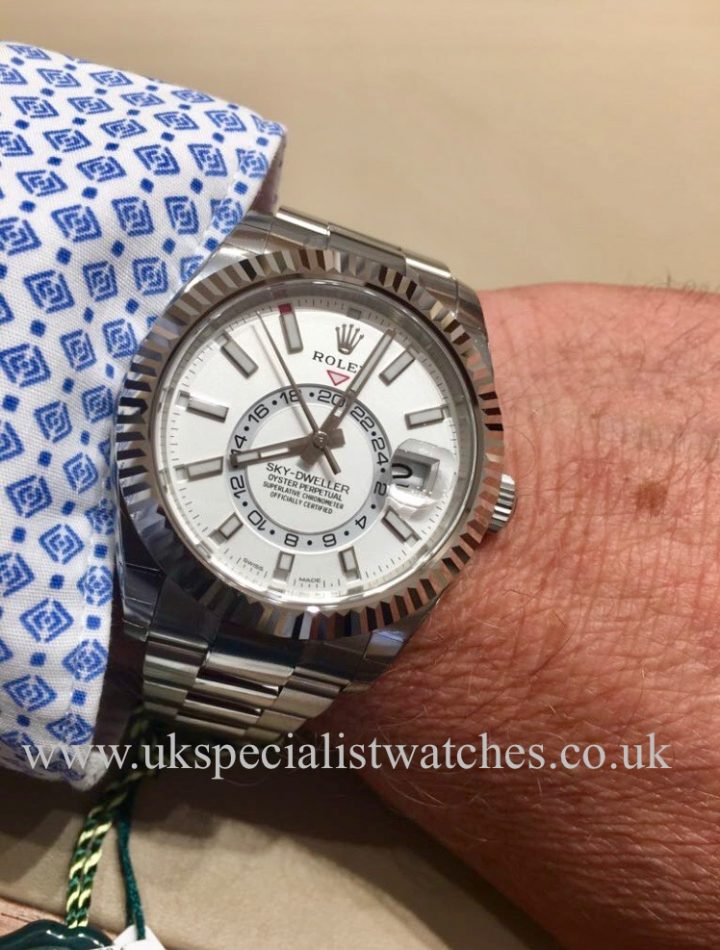 UK Specialist Watches have a brand new 2017 Stainless Steel Sky-dweller with a white dial 326934