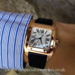 UK Specialist Watches have a solid 18ct Rose Gold Cartier Santos with a white dial - W20108Y - Black Croc Strap.