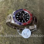 UK Specialist Watches have a White Gold GMT Master II with a pepsi bezel - 116719BLRO