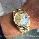 UK Specialist Watches have a stunning Rolex DayDate President with a factory Diamond & baguette Dial - 18238