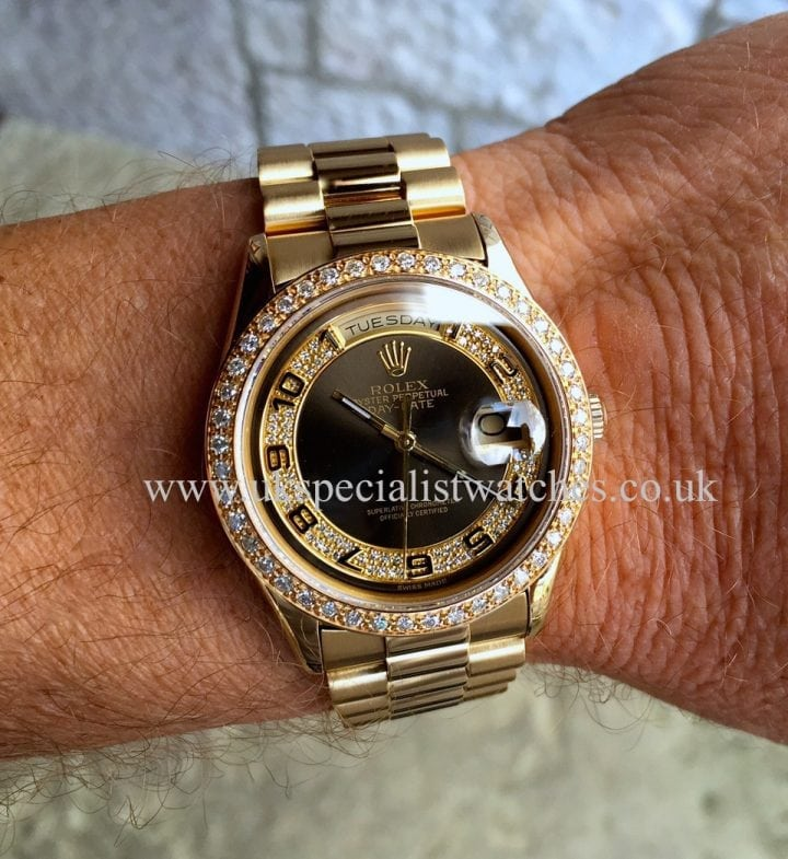UK Specialist Watches have a very special Rolex Day Date President in 18ct Gold with a Diamond set dial and bezel – 118208