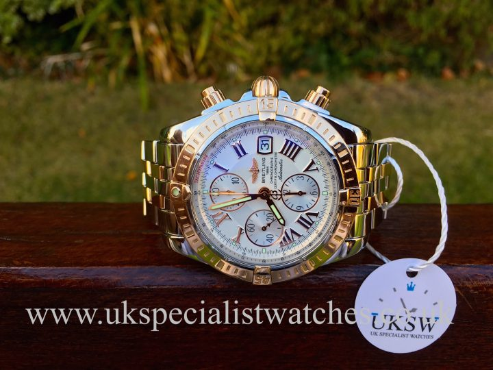 UK Specialist Watches have a Beautiful Breitling Chronomat Evolution in stainless steel and 18ct solid rose gold with a stunning white dial dial - C13356