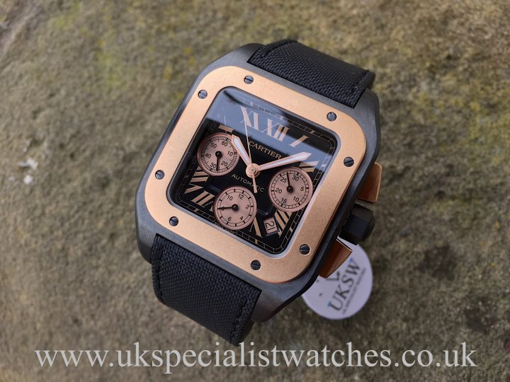 UK Specialist Watches have a rare Cartier Santos 100XL Black PVD & 18ct Rose Gold - W2020004