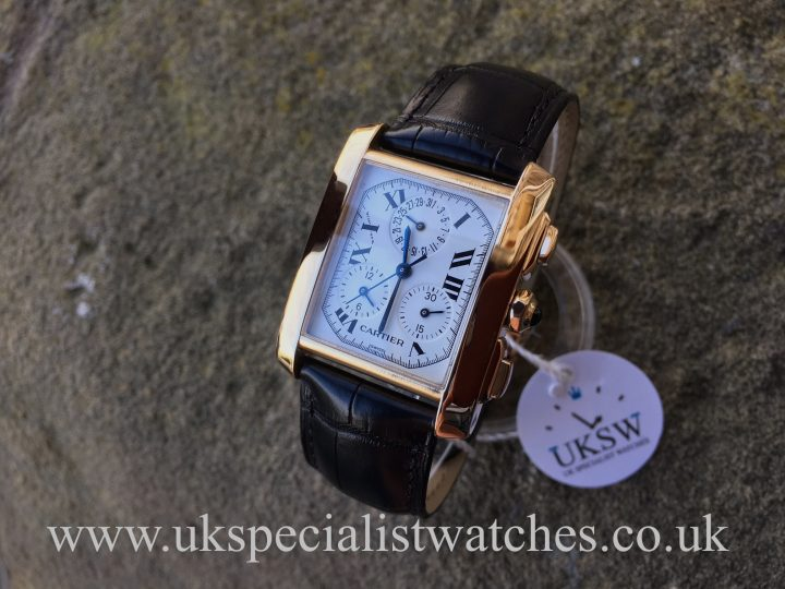 UK Specialist Watches have an 18ct Gold Cartier Tank Francaise chronograph with a white dial - 1830