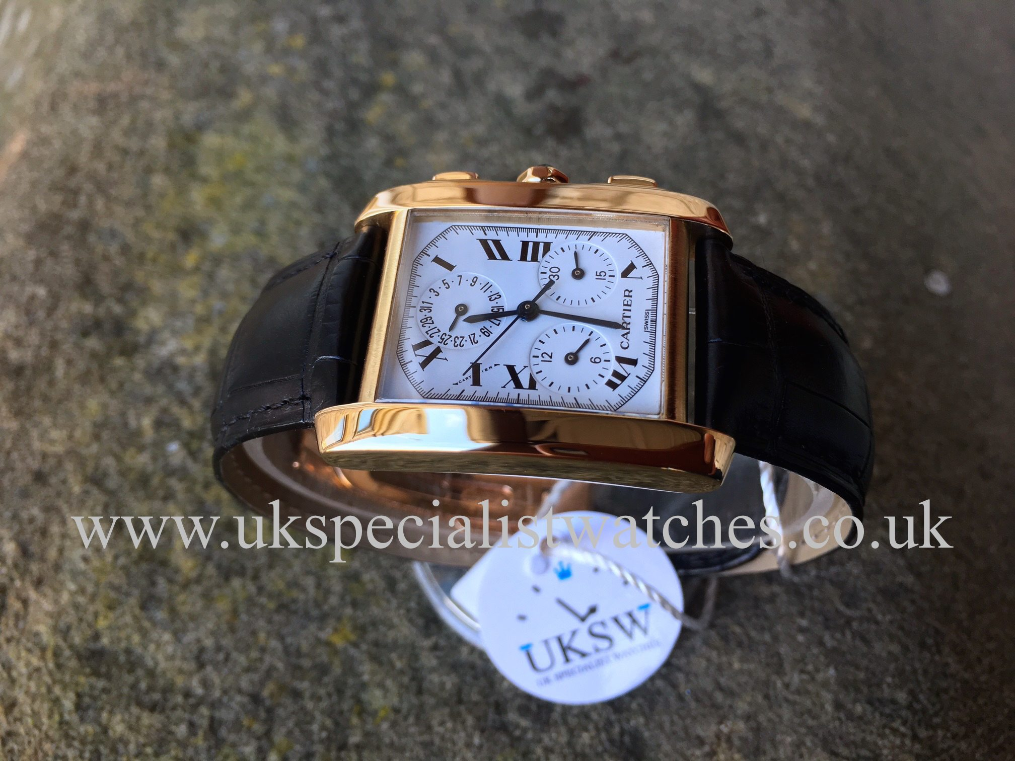 b33a16816a36 UK Specialist Watches have an 18ct Gold Cartier Tank Francaise chronograph  with a white dial -