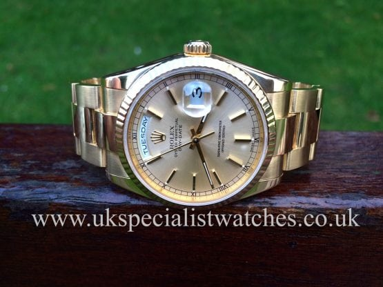 UK Specialist Watches have a stunning Rolex Day Date Oyster Gents 18ct Gold 118238