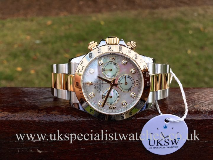 UK Specialist Watches have a factory Mother Of Pearl Diamond Dial Rolex Daytona bi-metal - 116523