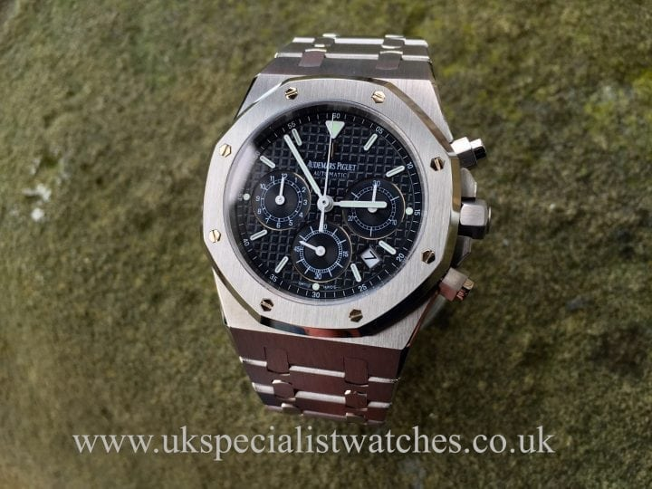 Uk Specialist Watches have a stainless steel audemars piguet royal oak chronograph with a blue mega tapestrie dial.
