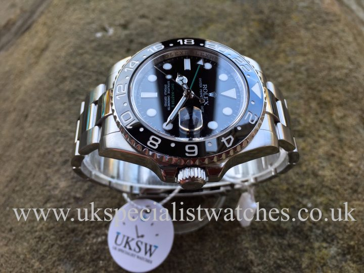 UK Specialist Watches have a stainless Steel Rolex GMT Master II ceramic bezel - 116710LN