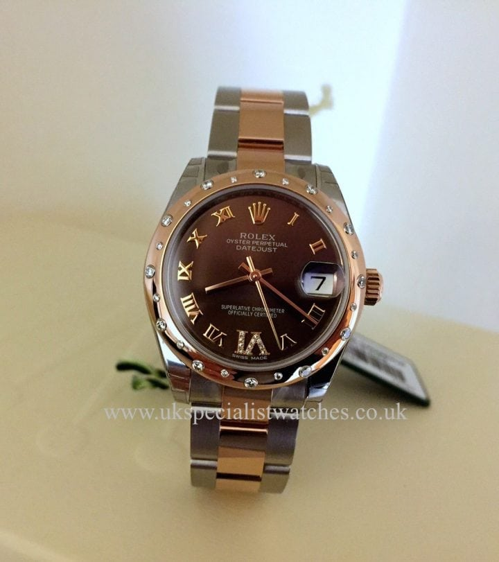 UK Specialist Watches have a stunning new model midsize Rolex Datejust in Rose Gold Chocolate Diamond Dial diamond bezel -178341