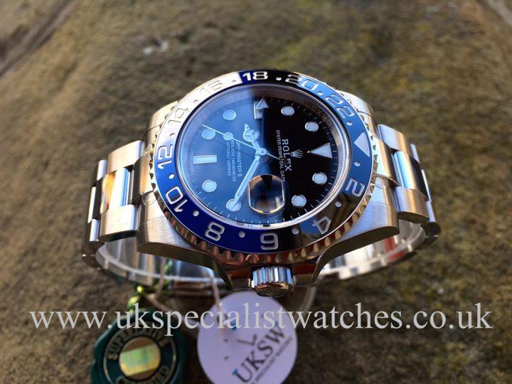 UK Specialist Watches have a 2016 New Unused Rolex GMT Master II - Black Blue - Bruiser - Batman - 116710BLNR