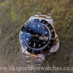 UK Specialist Watches have a rare vintage 1981 Rolex 16753 GMT Master with a Black Gilt Nipple dial .