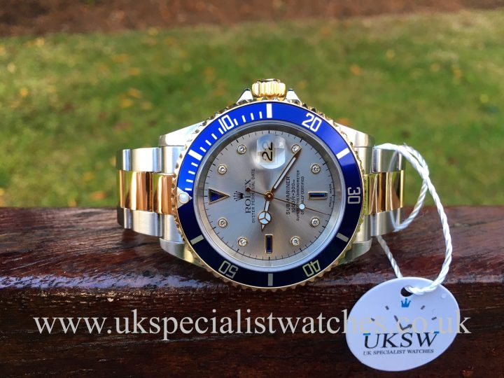 UK Specialist Watches have a rare Rolex submariner 16613 with a rhodium diamond sapphire dial.