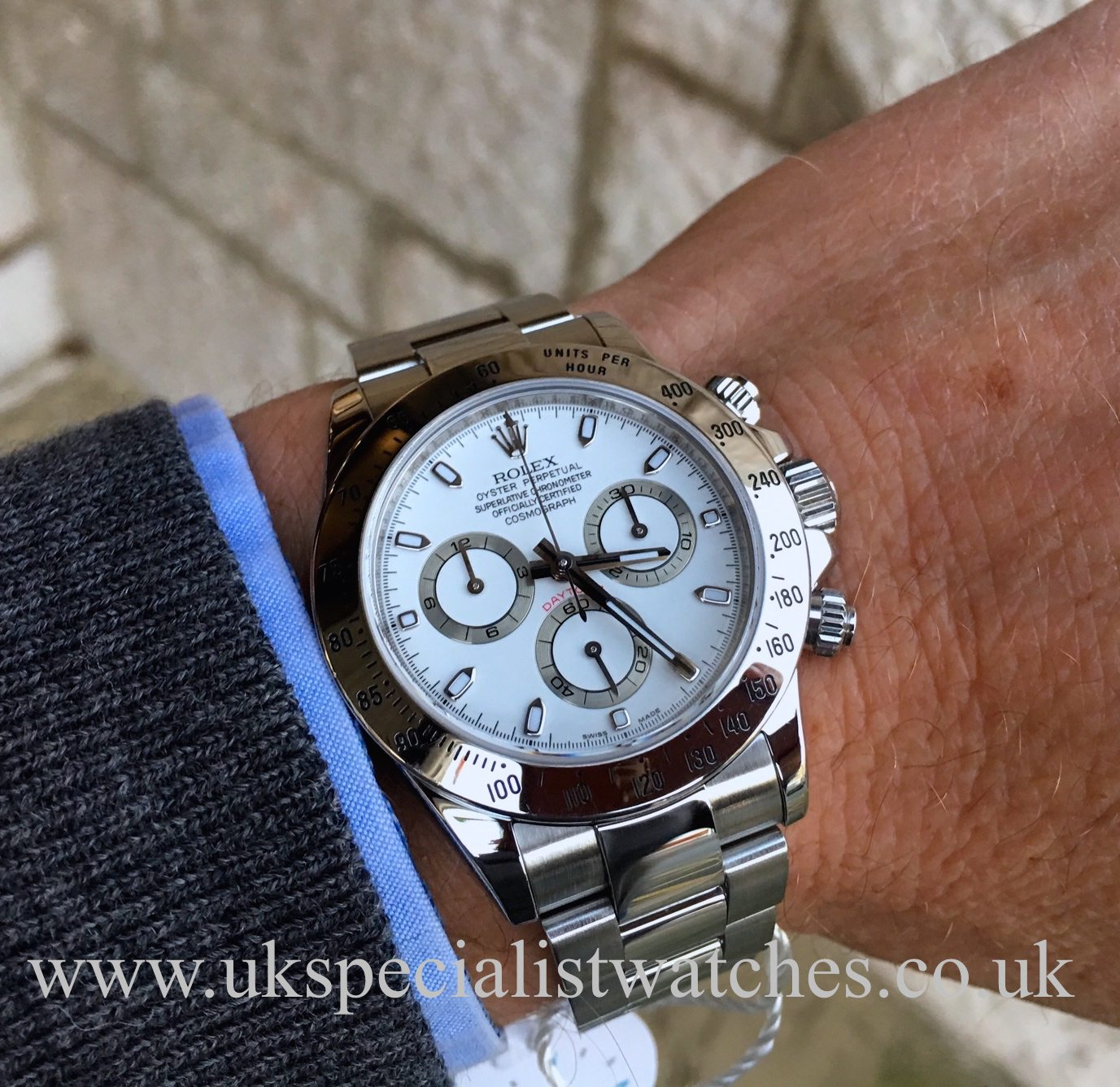 Rolex daytona cosmograph stainless steel white dial 116520 uk specialist watches for Rolex cosmograph daytona