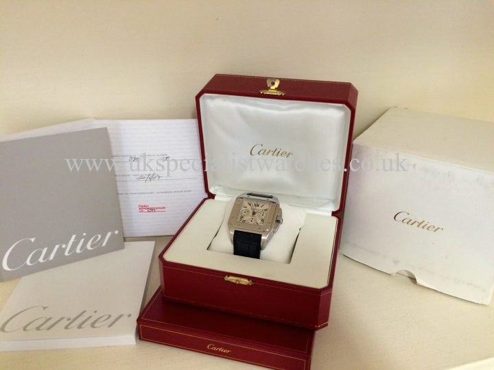 UK Specialist Watches have in stock a steel Gents Cartier Santos 100 Chrono XL