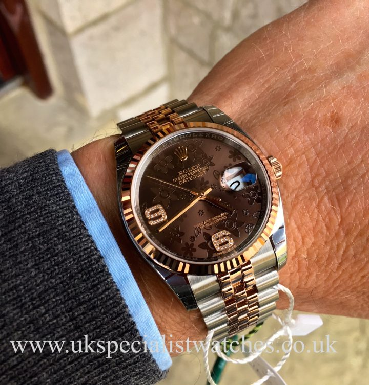 UK Specialist watches have a new Rolex Datejust Rose Gold & Steel - Floral Diamond Dial - 116231 – UNUSED with stunning floral diamond dial