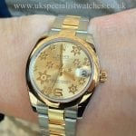 UK Specialist Watches have a midsize Rolex Datejust steel & gold with a champagne floral dial - 178243
