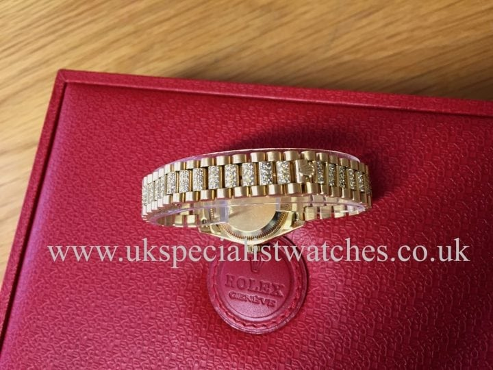 Available at UK Specialist Watches Rolex President lady-date just 18ct Gold totally Diamond Set 69178