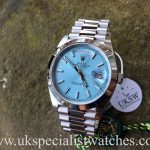UK Specialist Watches have a Brand New 2016 Rolex Day-Date 40 Platinum with an Ice Blue Dial - 228206