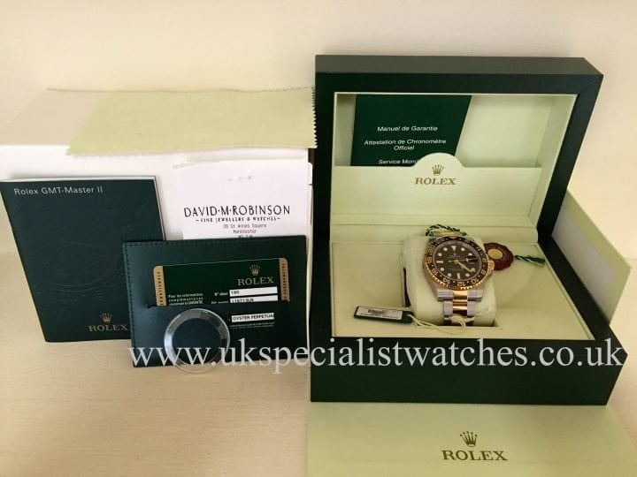 UK Specialist Watches have a unused Rolex GMT-Master II Gold & Steel 116713LN with the Ceramic Bezel