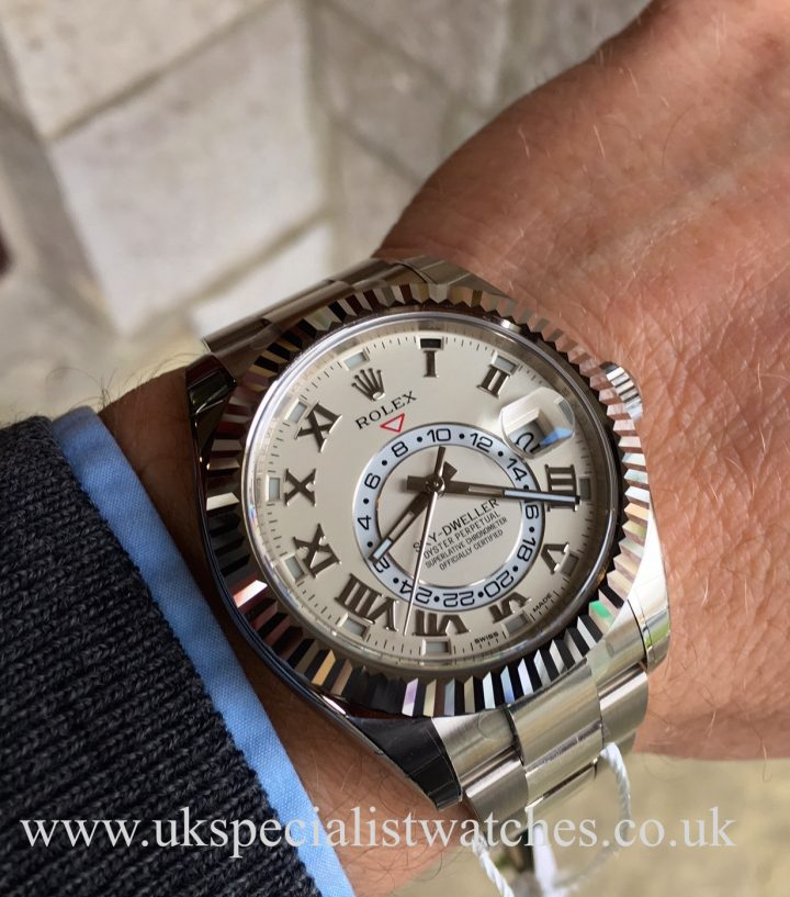 UK Specialist Watches have a 2016 Rolex Sky-Dweller in 18ct White Gold with a white ivory dial - NEW UNUSED 326939