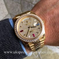 UK Specialist Watches have a rare Rolex day-Date 40 with a factory diamond pave dial and bezel 228348RBR UNUSED