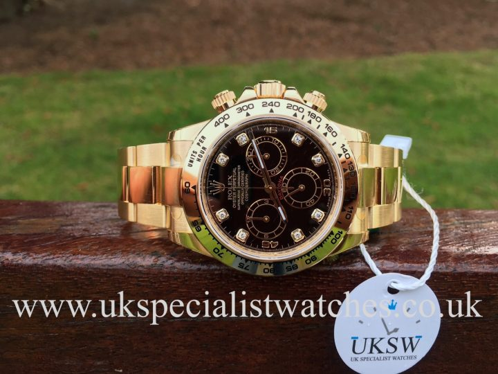 UK Specialist Watches have a new 2016 Rolex Daytona in 18ct yellow gold with a factory black dial.