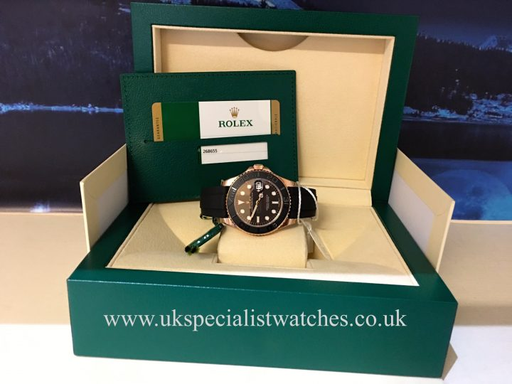 UK Specialist Watches have a Rolex Yacht-Master 18ct Everose Gold with a black rubber Oysterflex strap 268655