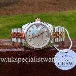 UK Specialist Watches have a Ladies Mid-size Rolex Datejust steel and 18ct rose gold with a factory mother of pearl dial and bezel - UNWORN UNUSED - 178341