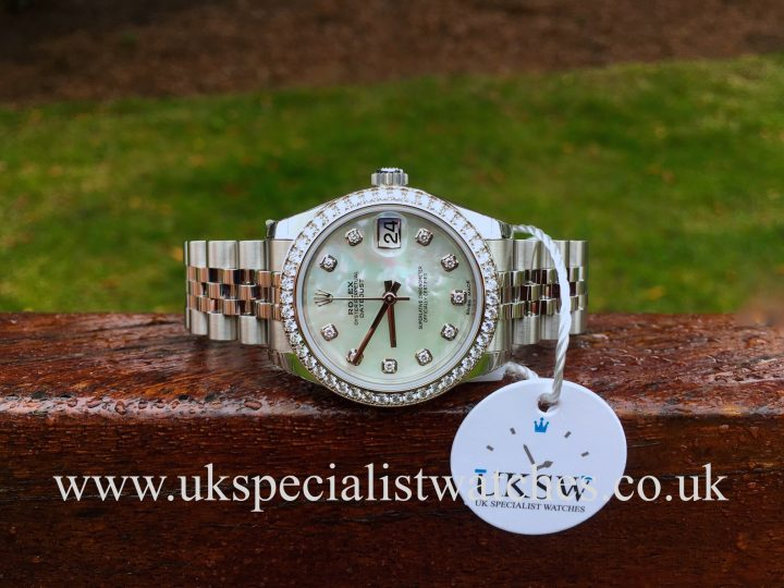 UK Specialist Watches have a Rolex Ladies Datejust Midsize 31mm – MOP Diamond Dial – 178384
