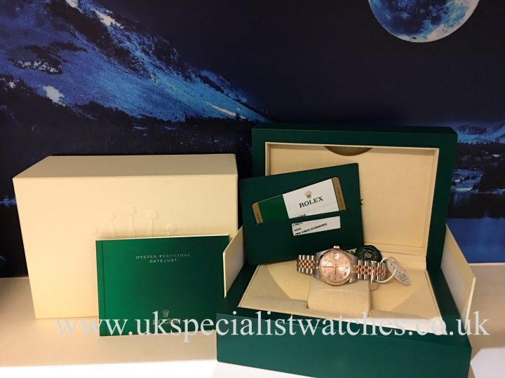 UK Specialist Watches have a new model Rolex Lady Datejust mid-size in stainless steel and rose gold with a pink jubilee diamond dial - 178278