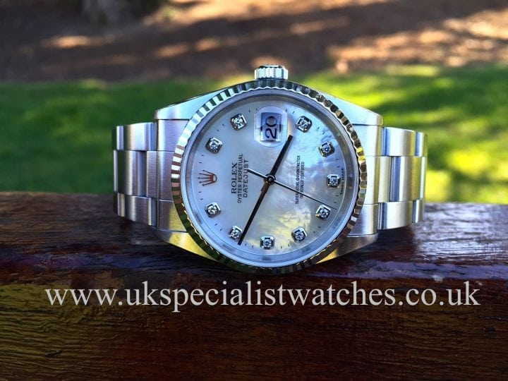 UK Specialist Watches have a gents Rolex Datejust with a factory Mother of Pearl Diamond dot Dial 16234