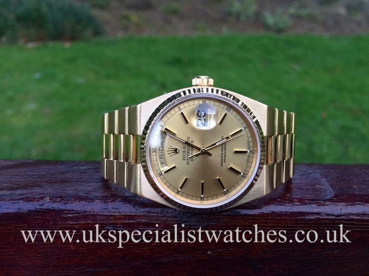 UK Specialist Watches have a Rolex Oyster-Quartz Day-Date 18ct Gold - 19018 Vintage 1988