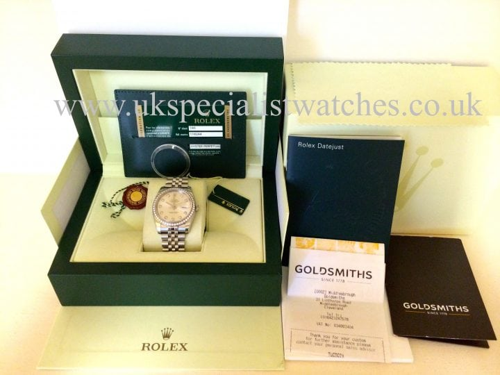 "For sale at uk specialist watches Rolex Datejust Gents 36mm Diamond Bezel - ""Diamond Dial"" 116244"
