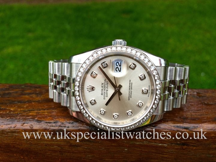 "Rolex Datejust Gents 36mm Diamond Bezel - ""Diamond Dial"" 116244"