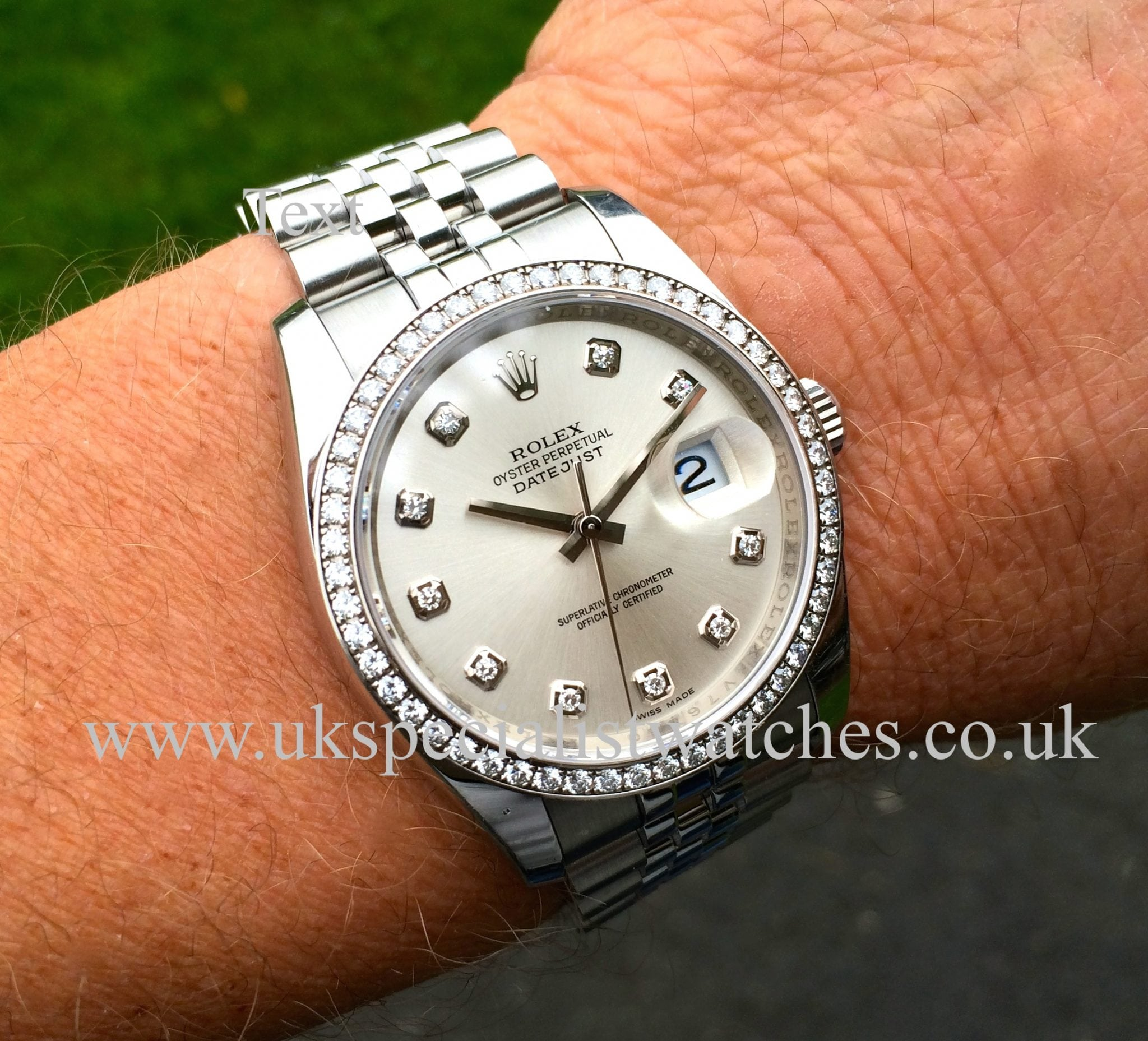 Rolex datejust 36mm diamond bezel diamond dial 116244 uk specialist watches for Diamond dial watch