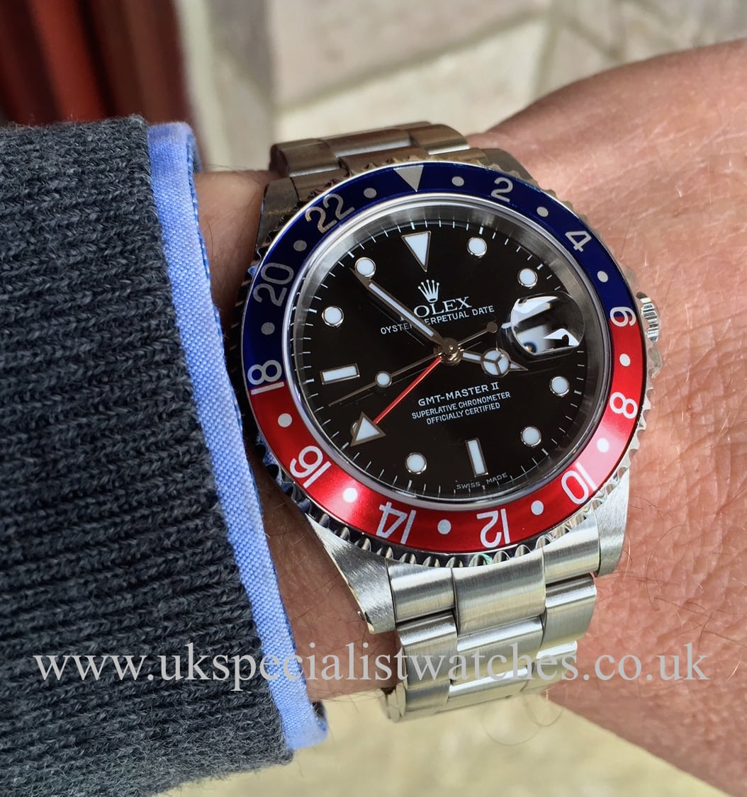 Rolex Prices Uk >> Rolex GMT Master II Pepsi Bezel – 16710 – UK Specialist Watches
