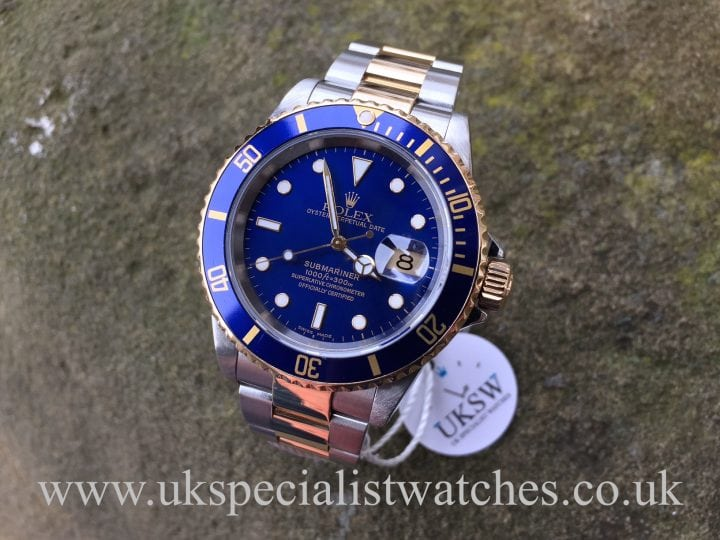 UK Specialist Watches have a Rolex Submariner Date Blue Dial – Steel & Gold 16613