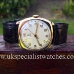 UK Specialist Watches have a beautiful 1940s Vintage Tudor Rolex in stock with a 9k Gold cushion case.