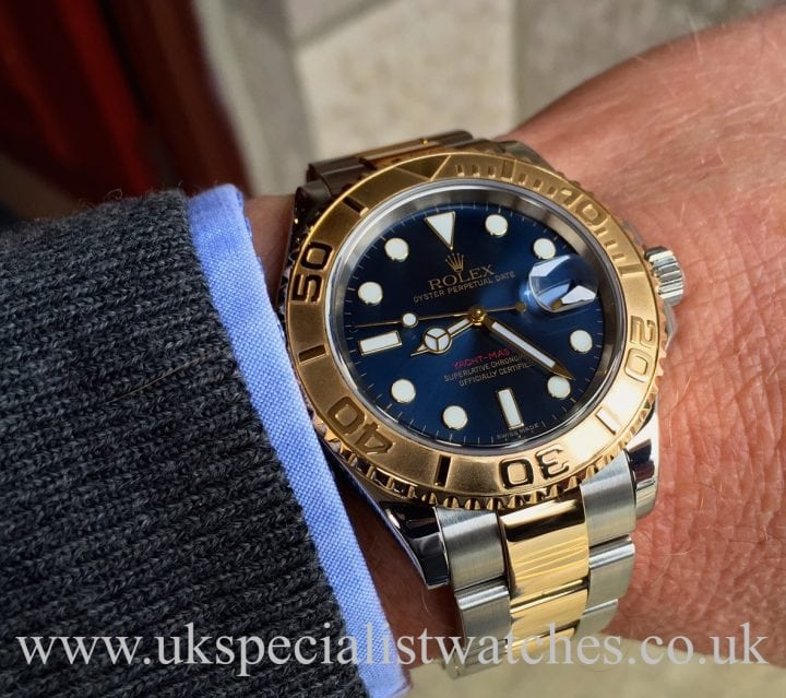 UK Specialist Watches have a Rolex Yacht-Master 16623 Bi-Metal with an electric blue dial.