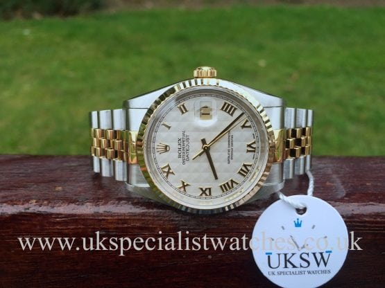 UK Specialist Watches have an immaculate a Rolex DateJust Pearl White Pyramid Dial - 16233