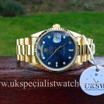 UK Specialist Watches have a factory blue diamond dial Rolex DayDate President 18238
