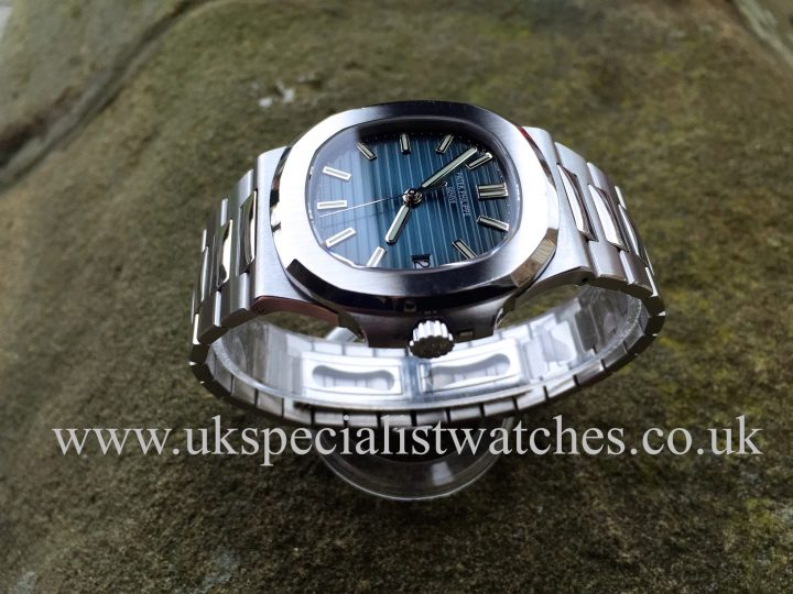 In stock at UK Specialist watches a Patek Philippe Nautilus 5711/1A with a blue dial