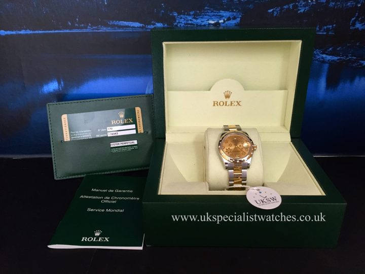 UK Specialist Watches have a mid size bi-metal Datejust with a champagne floral dial with a stunning scattered diamond bezel.